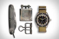 Project ENLIST    1969 Omega Seamaster  +  Vintage Army Folding Knife  +  Vintage Dunhill Lighter  +  Metal Paper Clip.