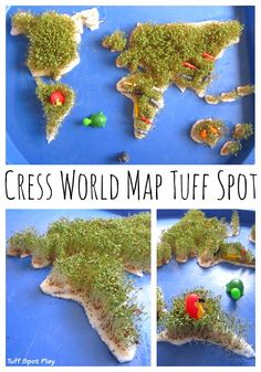Cress World Map Tuff Spot. see instruction in the post, it is quite easy to make and fun for kids to play and learn