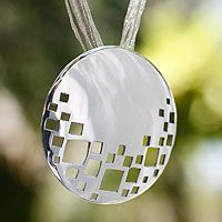 'El Tajin' sterling silver pendant necklace by Isela Robles at NOVICA
