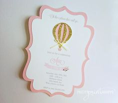Hot Air Balloon invitation pink and gold Air balloon birthday