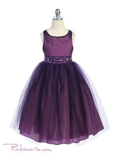 Ordered - for all three Flower girls! Purple Rhinestone Beaded Tulle Flower Girl Dress