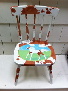 Hand Painted Chair by CharmingChairs on Etsy, $125.00