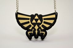 Zelda Hyrule Triforce Necklace Laser Engraved Hyrule by LicketyCut, $15.00