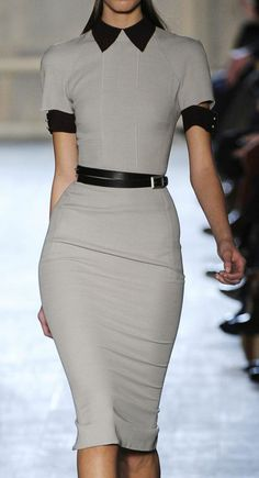 Taupe dress with black accents