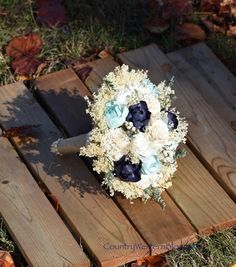 Mint Navy Bouquet Wedding Bouquet Peony by CountryWesternBlooms