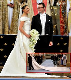 Most Amazing Royal Wedding Dresses Ever...Crown Princess Victoria of Sweden----In 2010, the 32-year-old bride walked down the aisle in a cream-colored duchess satin Pär Engsheden gown with a 16.5 foot train. Notable accessory: A gold and pearl Cameo tiara which the bride's mother, Queen Silvia, also wore to her own wedding on the same day in 1976.