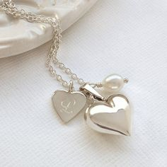 Personalised Double Heart Silver Necklace