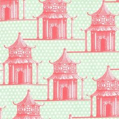 Asian Fabric, Garden Pagoda from Menagerie by Michael Miller DC6510 Pink/Green - 1/2 yard