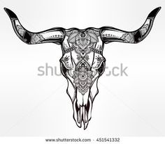 Hand drawn romantic tattoo style ornate decorative desert cow or buffalo skull. Spiritual native indian navajo art. Vector illustration isolated. Ethnic design, mystic tribal boho symbol for your use.