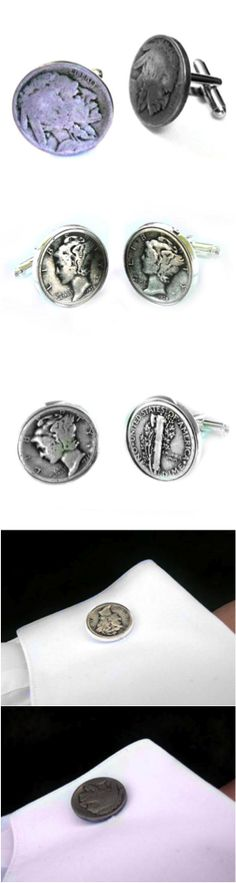Handmade Coin Cufflinks made from Mercury Dimes and Indian Head Nickels by Sports Cufflinks and Jewelry. The cufflinks are handcrafted using real coins. Choose from pre-set options or customize the pair with your own coins.  | Made by people who care on Hatch.co