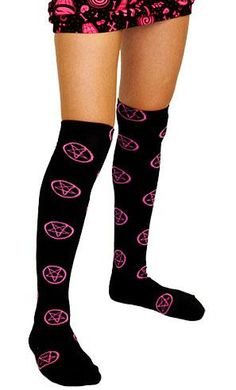 www.brokencherry.com #kneesocks #knuckles #rocknroll #rollerderby #sourpuss #rockabilly  Pentagram Over The Knee Socks   $13.00