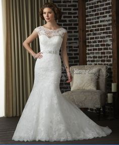 Cap Sleeves white/ivory long wedding gowns free shipping