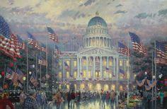 Flags Over the Capitol. Painted by Thomas Kinkade. http://www.thomaskinkade.com/magi/servlet/com.asucon.ebiz.catalog.web.tk.CatalogServlet?catalogAction=Product&productId=221&menuNdx=0