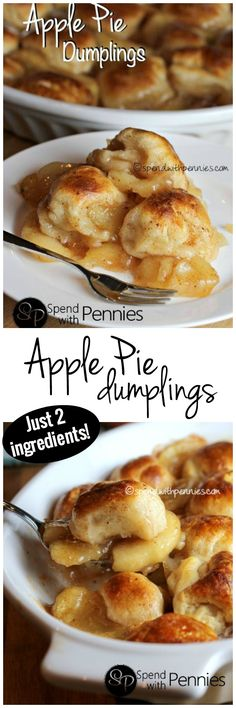 Apple Pie Dumplings with just 2 Ingredients! (Apple Pie Filling) Apple Pie Dumplings with just 2 Ingredients! Crock Pot Desserts, Köstliche Desserts, Delicious Desserts, Yummy Food, Easy Apple Desserts, Apple Recipes Easy, Simple Dessert Recipes, Crockpot Dessert Recipes, Asian Desserts