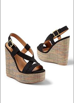 Criss Cross Open Toe Wedge
