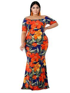 Dark-blue Floral Print Off Shoulder Sexy Plus Size Bodycon Dress Plus Size Bodycon Dresses, Plus Size Maxi Dresses, Plus Size Outfits, Halter Dresses, Pageant Dresses, Party Dresses, Wedding Dresses, Off Shoulder Mermaid Dress, Shoulder Dress