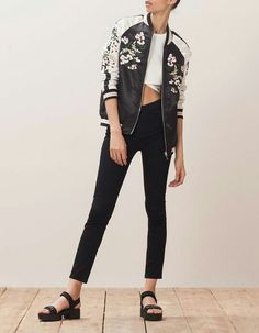 Reversible bomber jacket with embroidery detail Winter Fashion Outfits, Women's Fashion Dresses, Stylish Outfits, Bomber Jacket Outfit, Floral Bomber Jacket, Poses, Womens Fashion, How To Wear, Clothes