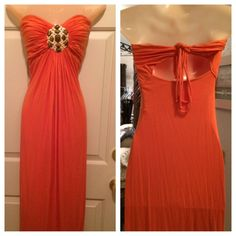 SKY Brand Coral Beaded Gold Medallion OPEN Back Strapless Maxi Dress-S #Sky #Maxi #Casual