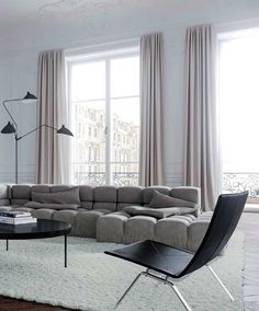The minimalist Living Room of a Paris Apartment, designed by Jessica Vedel. The minimalist Living Room of a Paris Apartment, designed by Jessica Vedel. Paris Apartment Interiors, Apartment Interior Design, Living Room Interior, Modern Interior Design, Living Room Decor, Parisian Apartment, Modern Living Room Curtains, Minimal Apartment, Dining Room