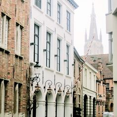 A quiet street in Bruges, Belgium.