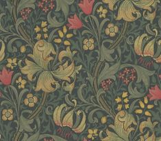 Golden Lily (210403) - Morris Wallpapers - Lily flowers and country blooms wind through this briar leaf design – the ultimate country cottage pattern. Shown in rich reds and creams and dark green set against a dark background. Please request sample for true colour match.