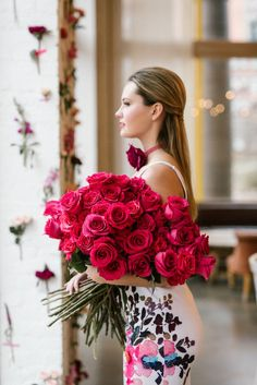 Two dozen red roses: Wedding Photographers: Lindsay Hackney - http://www.lindsayhackney.com   Read More on SMP: http://www.stylemepretty.com/living/2017/02/06/inspiration-for-a-heart-filled-valentines-bash-with-your-besties/