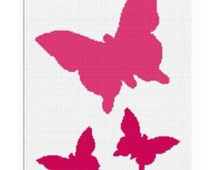 INSTANT DOWNLOAD Chella Crochet Butterfly Trio Silhouette Afghan Crochet Pattern Graph Chart .PDF