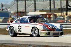 The factory-owned Brumos Porsche 911 Carrera RS of Peter Gregg and Hurley Haywood that won the 1973 Daytona 24.  The RS designation would soon change to RSR.  Louis Galanos photo.