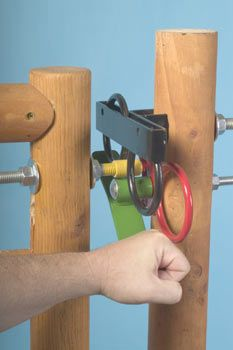 Image of a person pressing down on the lever of the gate latch.
