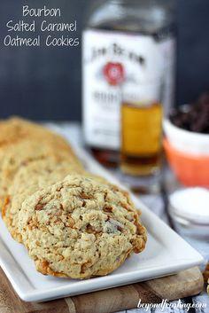 Bourbon Salted Caramel Oatmeal Cookies