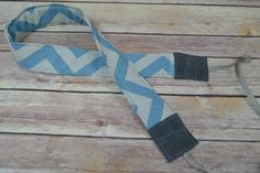 Camera Strap, narrow / padded with foam for comfort, Darby Mack / dslr gear / photography equipment / Wax Canvas Grey & Blue Zig Zag Stripes