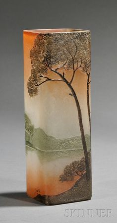 , LEGRAS ART GLASS VASE, ENAMEL AND ETCHED GLASS, SQUARE FORM DECORATED IN A LANDSCAPE OF TREES WITH A MOUNTAIN IN THE DISTANCE IN SOFT - 20TH CENTURY FURNITURE & DECORATIVE ARTS - SALE 2531B - LOT 355 - Skinner Inc