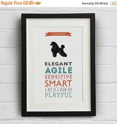 WINTER SALE Toy Poodle Dog Breed Traits Print  by WellBredDesign