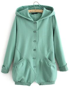 Green Hooded Long Sleeve Pockets Sweatshirt - Sheinside.com