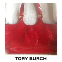 Tory Burch Red Patent Perforated Bombe Tote Help Hi this is my favorite Tory Burch bag, the red perforated Bombe tote, out of the few I own. I ended up leaving it by accident in the same dust cover after a vacation, with the black patent perforated Bombe tote. (It's my main summer bag with matching slides) the black from the other tote left black on the red, I really would like to have it repainted and fix. There seems to be 100 million knowledgeable people on here, so, Please if you have a…