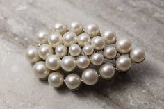 Silver Pearl Brooch pin faux white pearl with silver-tone