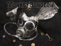 Post apocalyptic metallic bunny gas mask Halloween haunted house costume horror
