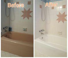 How I Painted Our Bath Tub, Tile & Floor DIY Under $30 | Tub paint ...