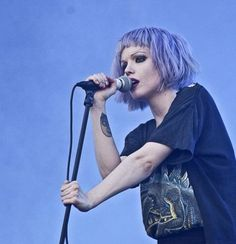 Alice Glass from the electronic band Crystal Castles - purple hair