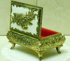Vintage Gold Ormolu Jewelry Box ~ Floral Top w/Leather ~ Red interior Metal Jewel Casket ~ Ornate Decorative Trinket box Fancy Feet Vanity by EclecticJewells on Etsy