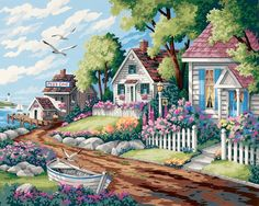 DIMENSIONS-Paint Works Paint By Number Kit: Cottages By The Sea. Dimensions brings you paint kits that are fun and quick to paint. With their color mixing you will achieve the subtle tones that make their designs look so realistic.