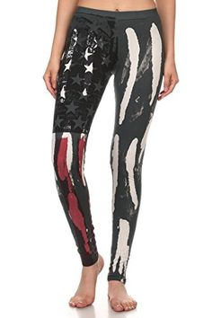 34092f9119 Amazon.com: T-Party Women's American Flag Vintage Look Yoga Pants Leggings  (Small, Old Glory Foldover Waist): Clothing