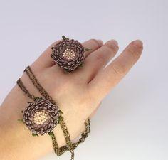 Handmade pendant and ring/ Art crochet pendant and от LozArts