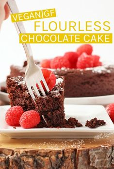 This rich and dense vegan Flourless Chocolate Cake is also gluten-free for a decadent dessert nearly everyone can enjoy. Made with just 7 simple ingredients for a quick and easy sweet treat. Vegan Gluten Free Desserts, Vegan Dessert Recipes, Vegan Sweets, Cake Recipes, Eggless Desserts, Vegetarian Desserts, Passover Recipes, Healthy Deserts, Healthy Cake
