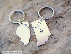 Items similar to CUSTOM Long Distance Love KEYCHAINS Best Friend Gift- Set of TWO State Maps (Indiana Keychain Illinois Keychain) on Etsy, a global handmade and vintage marketplace. Graduation Gifts For Best Friend, Personalized Graduation Gifts, High School Graduation Gifts, Graduation Presents, Grad Gifts, Cute Best Friend Gifts, College Presents, Graduation Ideas, Cute Gifts