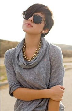 I like this cut, but I also like the top and chain necklace! Very cute.