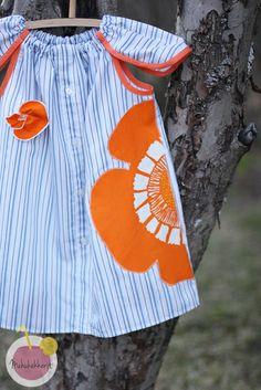 dress made of old men's shirt. Zero waste pattern