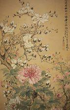 "JAPANESE HANGING SCROLL ""Flowers""  @f652"