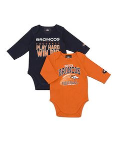 Take a look at this Denver Broncos Long-Sleeve Bodysuit Set - Infant on  zulily 54a979e54