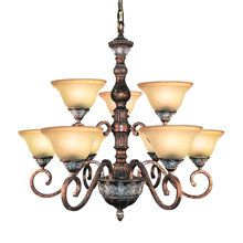 View the Woodbridge Lighting 12042-BRK 9 Light Up Light Two Tier Chandelier from the Worthington Collection at LightingDirect.com.